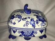 Delft Hand Painted Blue Covered Jar With Coa 6.5 X 5