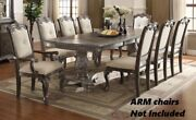 Traditional Grey Finish 7pc Dining Set Table W/chairs Double Pedestal Furniture