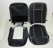 New Black W White Vinyl Seat Upholstery Set Mgb 1962-68 Top Quality Made In Usa