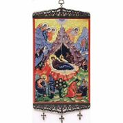 Nativity Of Christ Textile Art Tapestry Icon Banner With Crosses Large 17x8