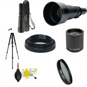 650-2600mm Hd Telephoto Zoom Lens For Canon Eos Rebel +hd Cpl Filter +tripod