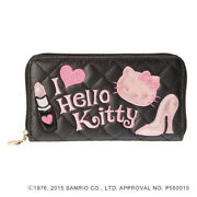 Sanrio Hello Kitty X Love Channel Collaboration Long Wallet Black Pink Full Zip