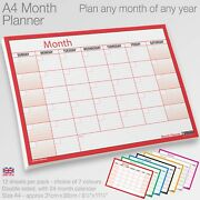 Month Planner Desk / Wall A4 Monthly Planner Double Sided Inc. 4 Year Calendar
