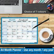 Month Planner Desk / Wall A4 Monthly Planner Double Sided ✔home ✔office ✔blue
