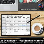 Month Planner Desk / Wall A4 Monthly Planner Double Sided ✔home ✔office ✔black