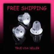 200pc 4mm Clear Rubber Silicone Plastic Earring Backs Stopper Post Nut Free Ship