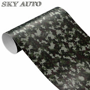 Digital Green Camouflage Vinyl Car Wrap Film Sheet + Free Tools 2 Feet And Up
