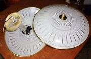 Vintage 17in Atomic Burst Light Fixture Covers On 4 Bulb 11inch Ceiling Plates