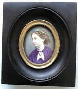 Miniature Portrait Of Woman Monogram F.p Painting On Copper Email 19th Century