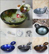 Us Bathroom Round Glass Vessel Sink Basin With Match Waterfall Faucet
