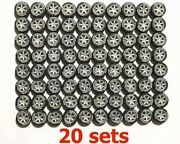 164 Rubber Tires / Rims - Te37 Silver Fit Kyosho Hot Wheels Diecast - 20 Sets