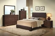 Full Size Bedroom 4pc Brown Color Fully Padded Leatherette Bedroom Furniture Set