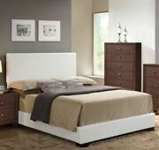 Full Size Bedroom 4pc White Color Fully Padded Leatherette Bedroom Furniture Set