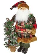 Raz Imports 19 Santa With Tree Christmas Table Top 3819130 Rustic Cabin New