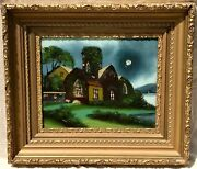 19th C. New England Antique Painting W/ Mother Of Pearl Illuminated Moon