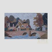 Countryside House Handmade Mosaic Art Picture Natural Stone Mosaic Decor Wall
