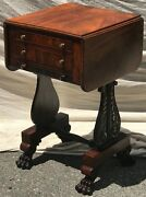 Early 19th C Classical Antique Work Table / Nightstand By Isaac Vose And Wightman