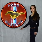 Ford Mustang Olp Red Light Car Garage Auto Banner Light Neon Sign 36 Steel Can