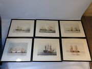 Lot Of 6 Rare Lithographs Rod Claudius 1937 Navy Battle Ships Military Framed