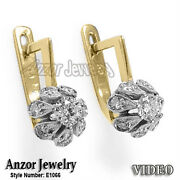 Russian Jewelry 14k Yellow And White Gold .95 Cwt Diamond Earrings E1066.
