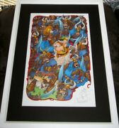 Sergio Aragones Signed Doodled Groo Fighting Apes 11x17 Lithograph Poster Framed