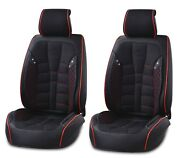 Universal Front Black Fabric And Leather Seat Covers Car Van Motorhome Bus Mpv