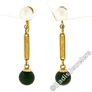 Antique 14k Yellow Gold Pearl Jade Bead Etched Bar Drop Dangle Screw On Earrings