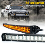 Xprite 50 Curved Double Row Led Light Bar W/ Amber Backlight For Jeep Truck Suv