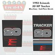 1992 Evinrude 20hp Tracker Blue End Plate Decals Outboard Repro 2pc Marine Vinyl