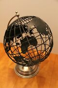 Black Metal Art World Earth Globe Rotats By Hand With Brushed Nickel Base Nice