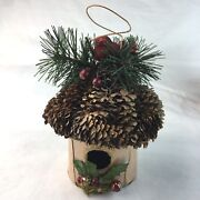 Bird House Christmas Ornaments Red Bird Wooden Pinecone Roof Large 4 Gift