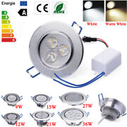 Dimmable 9w 12w 15w 27w 36w Led Ceiling Recessed Down Light Fixture Lamp Anddriver