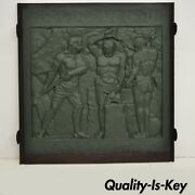 19th Century Cast Iron Fireback Figural Foundry Worker Depiction 31.5 X 31