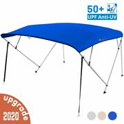 4 Bow Boat Bimini Tops Boat Canopy Boat Shade With Support Pole Boot Blue 79-84