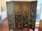 Rare Chinese 4 Panel Black Lacquer Screen Antique Hand Carved Exquisite19th C.