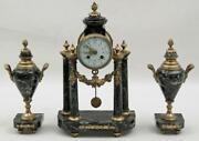 Clock Set, French Bronze And Marble, 3 Pc., 19th C., 1800s Gorgeous Antique