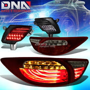 Red Smoked 3d Led Tail Lights+ Tinted Rear Reflector Lamp Fit 13-16 Mazda Cx5