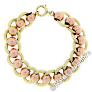Retro Vintage 14k Rose Green Gold Wide Ball And Flat Cable Link 6 Chain Bracelet