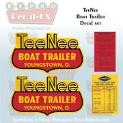 Tee Nee Boat Trailer Reproduction Decals Youngstown Ohio 4 Pc Marine Vinyl Decal