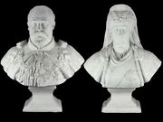 1902 Large Gesso Bust Statues Of Edward Vii And Queen Alexandra