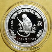 2004 Australia 2 Oz Year Of The Monkey 2 Silver Proof Coin Lunar I Perth Mint