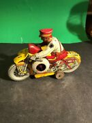 Vintage Tin Wind Up Motorcycle W/ Sidecar W/ Siren And Sparks Very Good Cond.