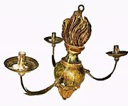17th /18th C. Handcarved Painted Wooden Chandelier, 3 Branches, Al Fresco Dining
