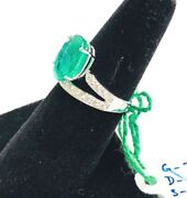 18k White Gold Diamond And Emerald Color Of Love Ring Size Us-7