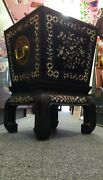 Antique Chinese Planter Box Mother Pearl Inlays Brass Accents Black Wood Beauty
