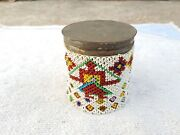 Vintage Hand Woven Beads Multi-figures Tin Round Cigarette Keeping Case