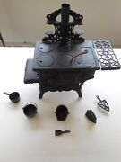 Crescent Cast Iron Minature Toy Salesman Sample Wood Stove And Accessories Guc