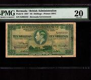 Bermuda 10 Shillings 1937 P-9 Pmg Vf 20 Very Rare In Green King George