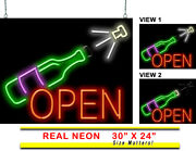 Animated Wine Bottle Neon Sign | Jantec | 30 X 24 | Beer Wine Bar Champagne
