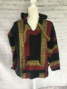 Vintage Textiles Mexican Black Red Yellow Green Lion Of Judah Pullover Poncho M
